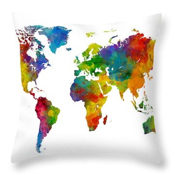Map Of The World Map Watercolor Throw Pillow