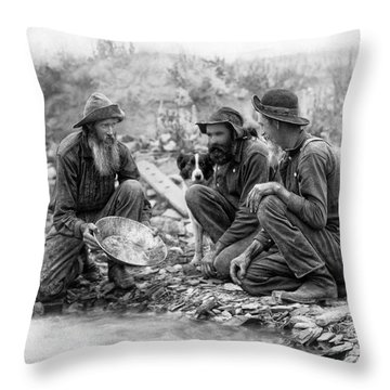 3 Men And A Dog Panning For Gold C. 1889 Throw Pillow
