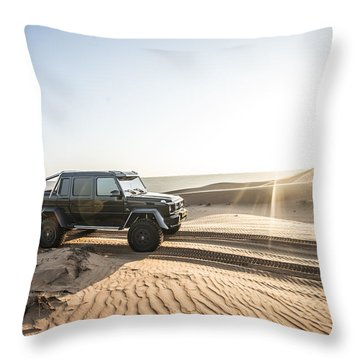 Mercedes G63 6x6 In Oman Desert Throw Pillow