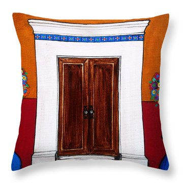 Mexican Door Painting Throw Pillow