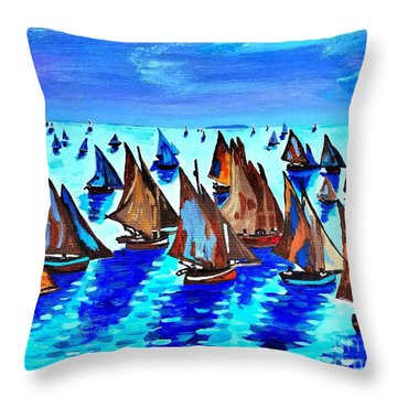 Monet Fishing Boats Calm Seas Throw Pillow