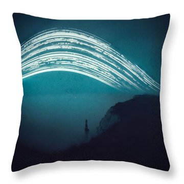 3 Month Exposure At Beachy Head Lighthouse Throw Pillow