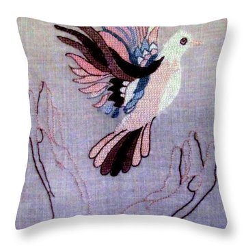 Needle Craft Throw Pillow by Joyce Woodhouse