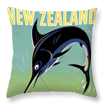 New Zealand Vintage Travel Poster Restored Throw Pillow