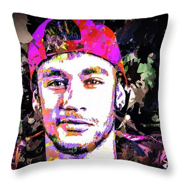 Neymar Throw Pillow by Svelby Art