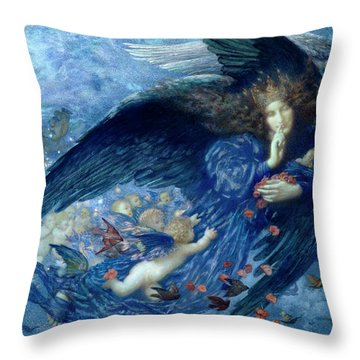 Night With Her Train Of Stars Throw Pillow
