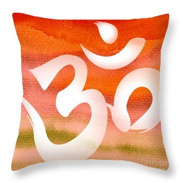 Om Symbol. Orange Throw Pillow