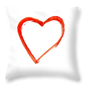 Throw Pillow featuring the drawing Painted Heart - Symbol Of Love by Michal Boubin