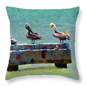 3 Pelicans Throw Pillow