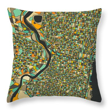 Philadelphia Map Throw Pillow by Jazzberry Blue