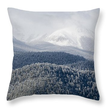 Pikes Peak In Snow Throw Pillow