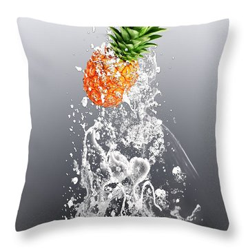 Pineapple Splash Throw Pillow by Marvin Blaine
