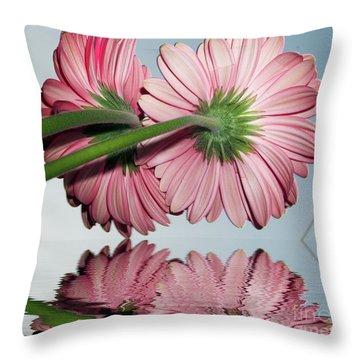 Pink Gerbers Throw Pillow by Elvira Ladocki