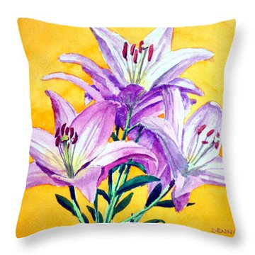3 Pink Lilies Throw Pillow by Dennis Clark