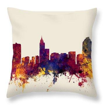 Raleigh North Carolina Skyline Throw Pillow