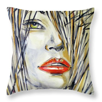 Throw Pillow featuring the painting Red Lipstick 081208 by Selena Boron