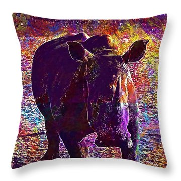 Throw Pillow featuring the digital art Rhino Africa Namibia Nature Dry  by PixBreak Art