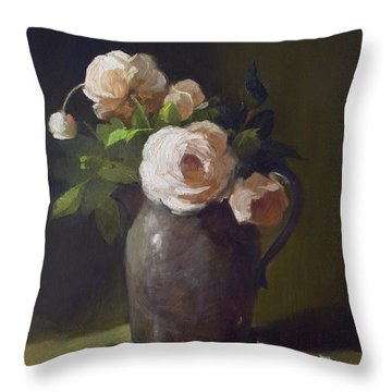 3 Roses In Silver Pitcher Throw Pillow