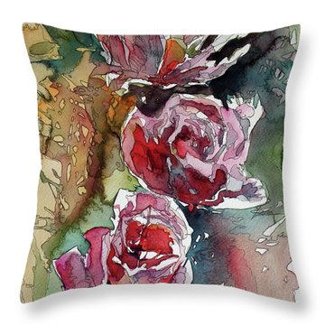 Throw Pillow featuring the painting Roses by Kovacs Anna Brigitta