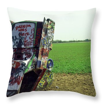 Route 66 - Cadillac Ranch Throw Pillow by Frank Romeo