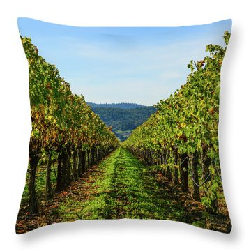 Row Of Grapevines Throw Pillow