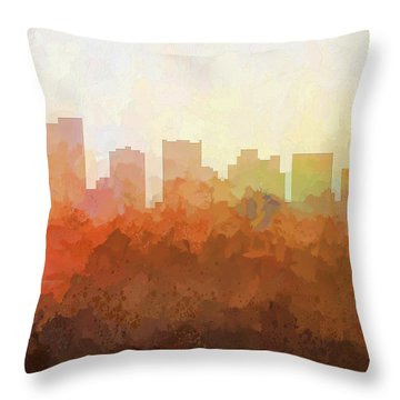 Throw Pillow featuring the digital art Scottsdale Arizona Skyline by Marlene Watson