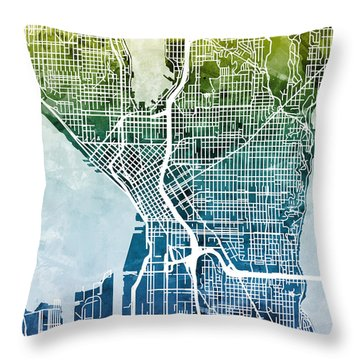 Seattle Washington Street Map Throw Pillow by Michael Tompsett