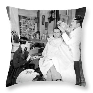 Silent Still: Barber Shop Throw Pillow by Granger
