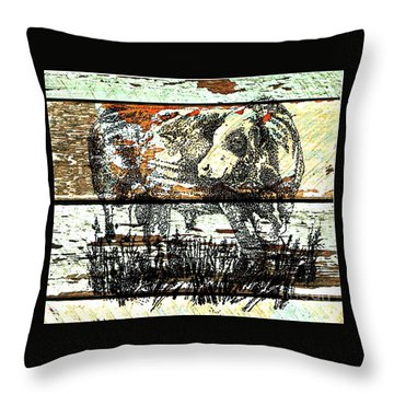 Throw Pillow featuring the drawing Simmental Bull by Larry Campbell