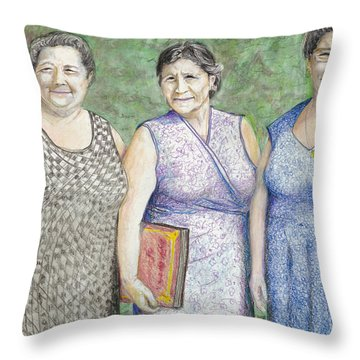 Throw Pillow featuring the drawing 3 Sisters by Albert Puskaric