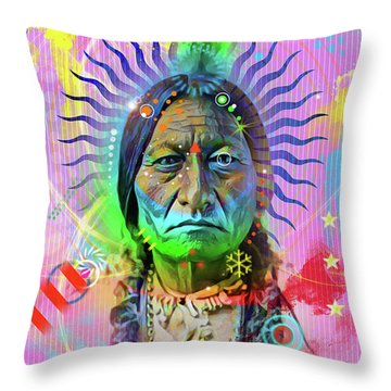 Sitting Bull Throw Pillow by Gary Grayson