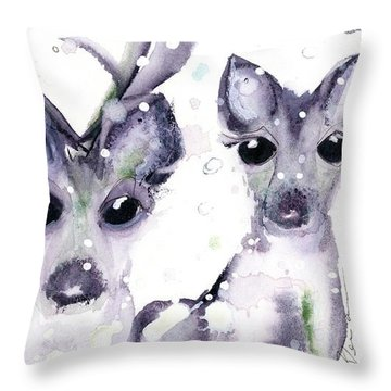 Throw Pillow featuring the painting 3 Snowy Deer by Dawn Derman