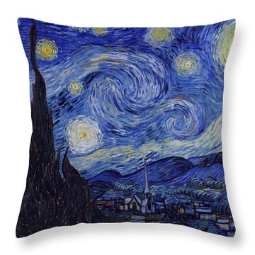 Throw Pillow featuring the painting Starry Night by Van Gogh