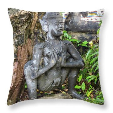Statue Depicting A Thai Yoga Pose At Wat Pho Temple Throw Pillow