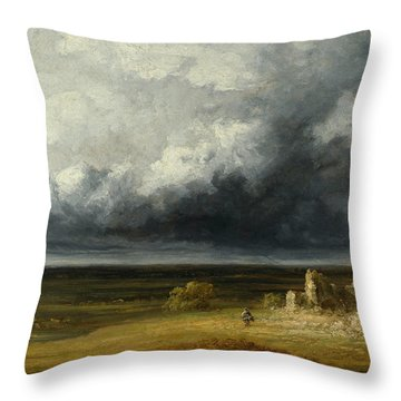Stormy Landscape With Ruins On A Plain Throw Pillow