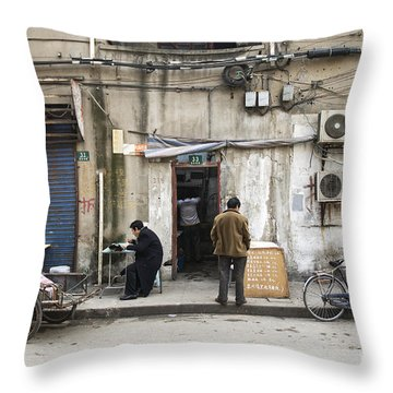 Street Food Stall In Shanghai China Throw Pillow