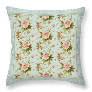 Summer At Cape May - Aged Modern Roses Pattern Throw Pillow