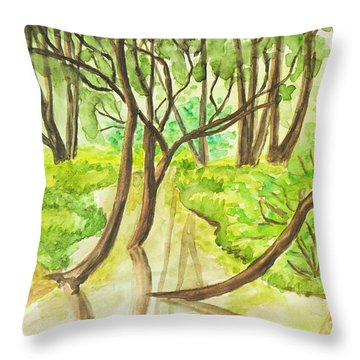 Summer Landscape, Painting Throw Pillow