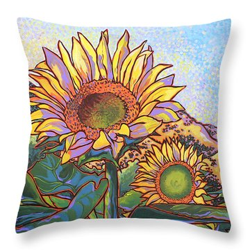 3 Sunflowers Throw Pillow by Nadi Spencer