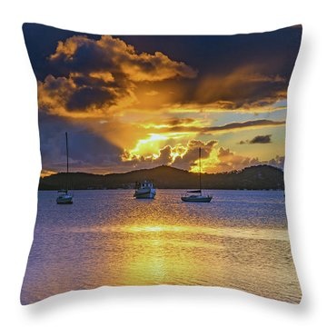 Sunrise Waterscape With Clouds And Boats Throw Pillow