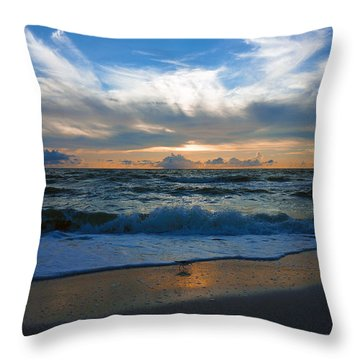 Sunset At Delnor-wiggins Pass State Park Throw Pillow