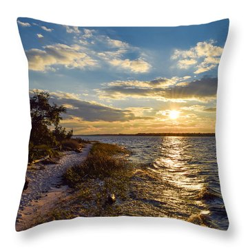 Throw Pillow featuring the photograph Sunset On The Cape Fear River by Willard Killough III