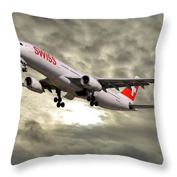 Swiss Airbus A330-343 Throw Pillow