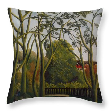 Throw Pillow featuring the painting The Banks Of The Bievre Near Bicetre by Henri Rousseau