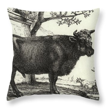 The Bull Throw Pillow by Paulus Potter