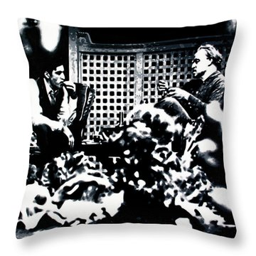 Throw Pillow featuring the painting The Godfather by Luis Ludzska