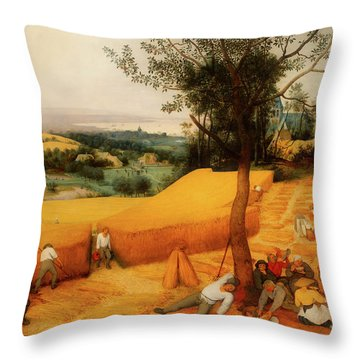 Throw Pillow featuring the painting The Harvesters by Pieter Bruegel The Elder