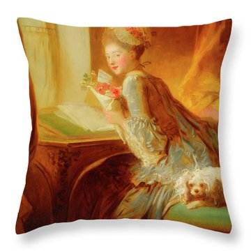 Throw Pillow featuring the painting The Love Letter by Jean Honore Fragonard