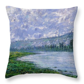 The Seine At Vetheuil Throw Pillow