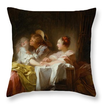 Throw Pillow featuring the painting The Stolen Kiss by Jean-Honore Fragonard